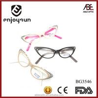 UNIQUE fox eye shape fashion design student acetate hand made spectacles optical frames eyewear eyeglasses with diamond