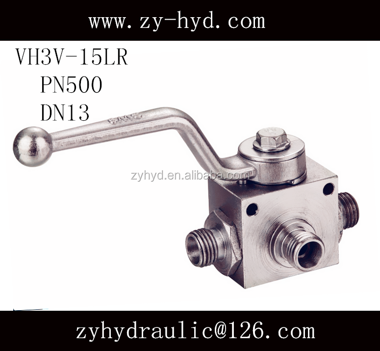 VH3V or BK3 type L port 15LR industrial ball valve outside thread with mounting holes