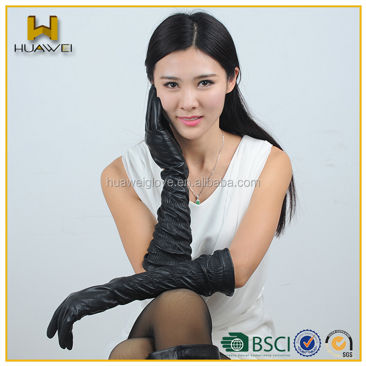 dfb4edfdbc81 Hot-sale Winter Wear Leather Ladies Long Gloves With Frill Sleeve ...