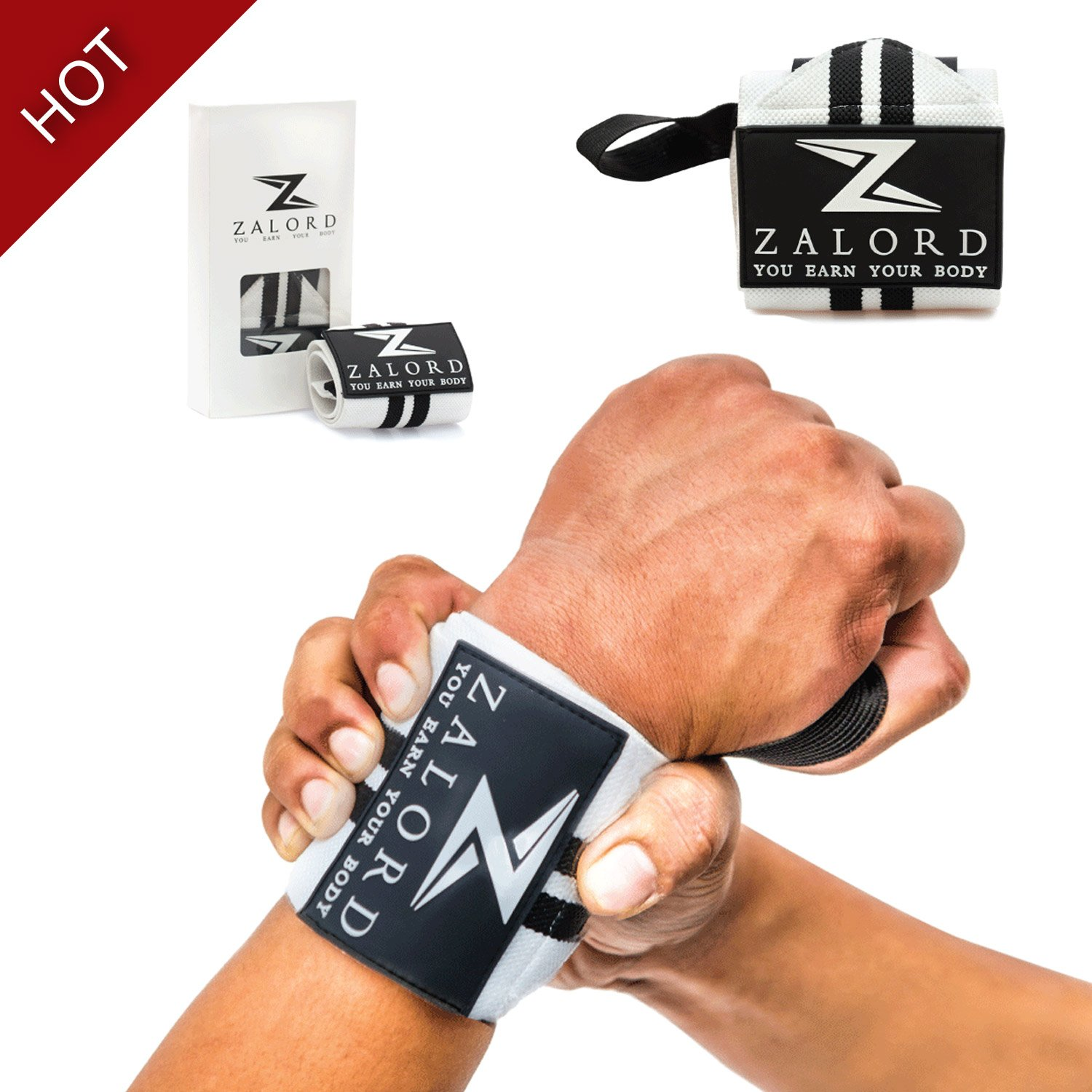 1e0066296b Get Quotations · Weight Lifting, Powerlifting, Bodybuilding, Crossfit Wrist  Wraps By Zalord. Elastic, 18