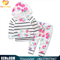 2017 Wholesale childrens boutique clothing fall new arrivals baby girls vintage floral hoodie clothes kids clothing sets