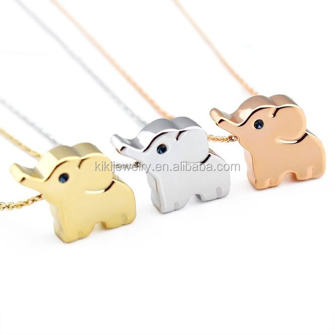 Korean Silver / Gold / Rose Gold Plated Zinc Alloy Lucky Elephant Animal Pendant Necklace