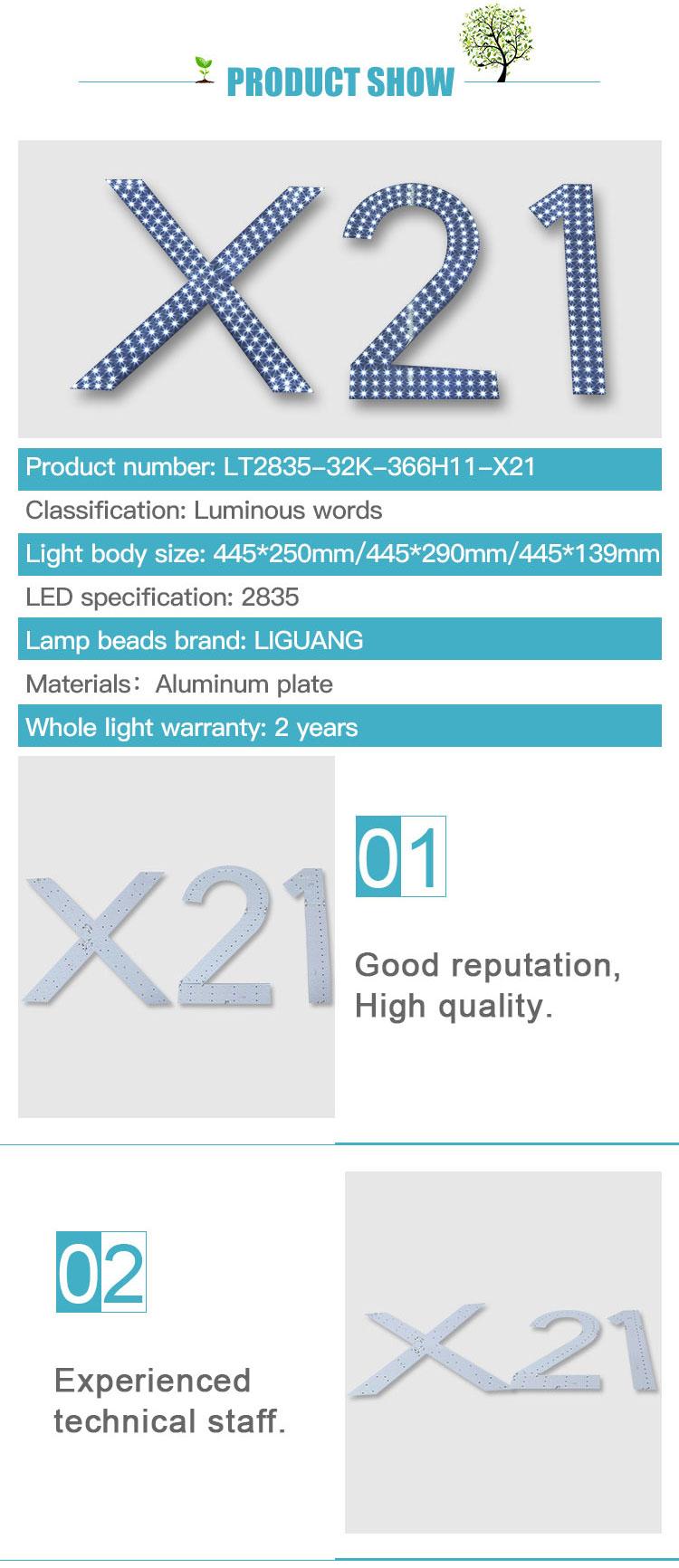 Fabrika fiyat özelleştirmek yüksek parlaklık Ultra ince LED ışıklı karakterler satılık