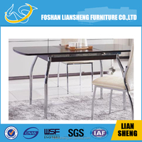 Transparent glass top modern dining table TI6002#