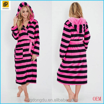 2014 New Arrival Women Striped Plush Fleece Hooded Robe - Buy Plush ... 6afac5f5f
