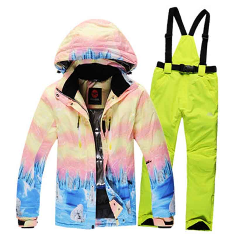 Get Quotations · Fashion Plaid outdoor sportswear winter warm clothes  windproof waterproof skiing suit sets women snowboard jackets + 8035d4d39