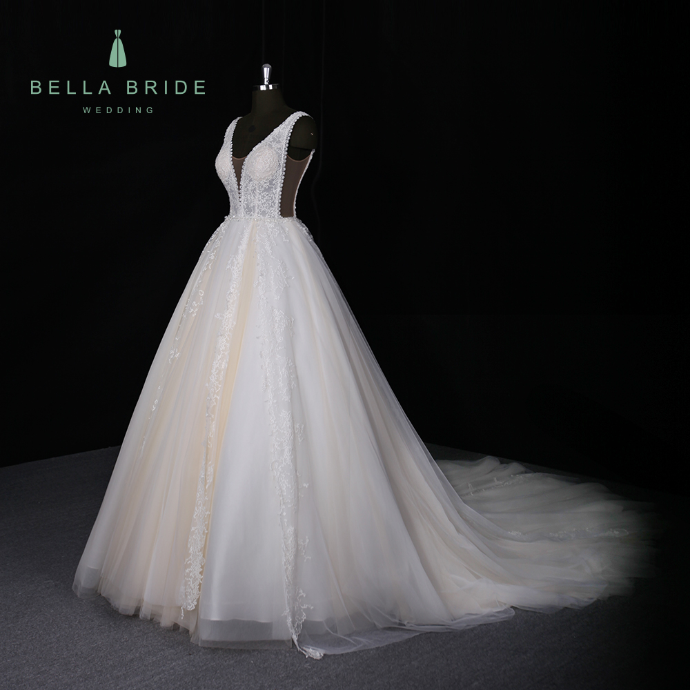 2018 Classic Simple V Neck A Line Lace Bridal Gown Bead Sash Wedding Dress