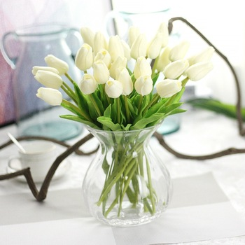 Hot Sale Handmade Silk Fake White Tulip Artificial Flower In Glass