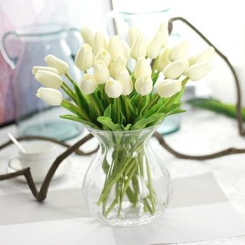 Hot Handmade Silk Fake White Tulip Artificial Flower In Gl Vase