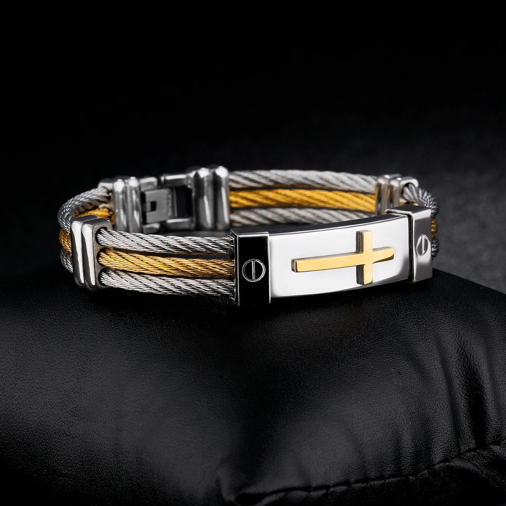 Popular Products 2018 Men Stainless Steel Cable Wire Cross Bracelet