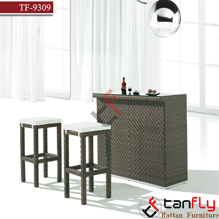 Tanfly Set of 2 Outdoor Wicker Rattan Bar Stool Outdoor Patio Furniture
