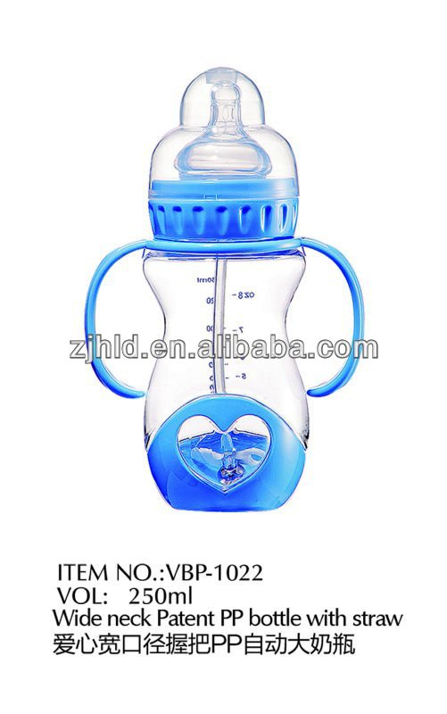 250ml Love wide mouth PP bottles with straw handles the bulge imitation milk feeling silicone pacifiers