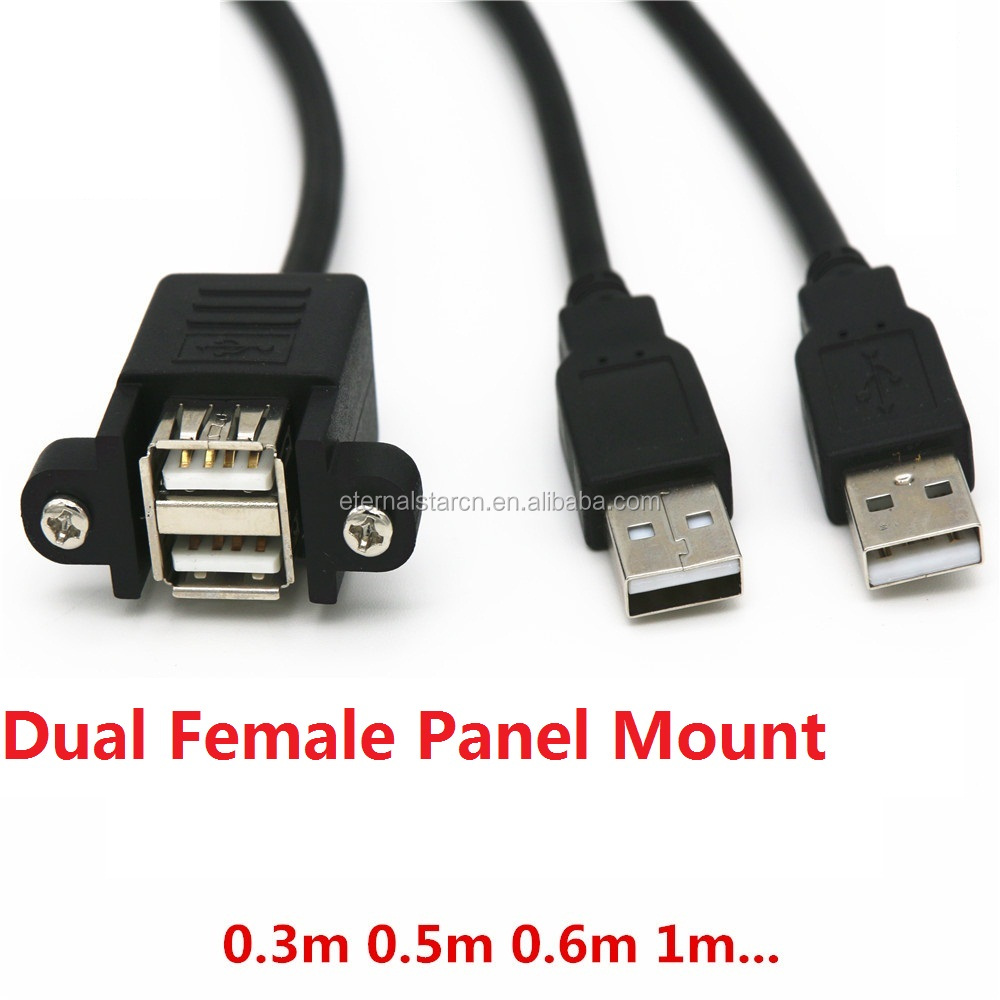 Stock Dual USB 2.0 Male to Female Extension Cable 50cm with Screw Panel Mount Holes
