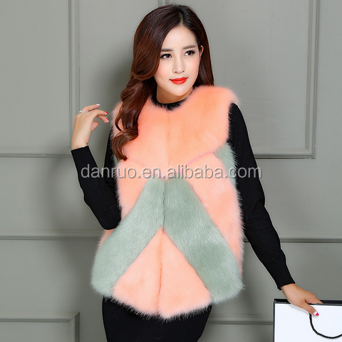 Fall and winter fashion hit the new color imitation fox fur fur vest Slim wild man-made fur coat sleeveless vest
