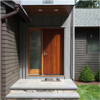 Good Quality Wooden Exterior Door Unequal Double Door Design