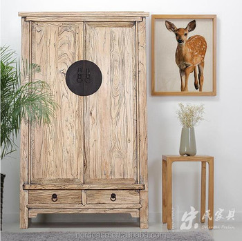 Antique Chinese Wooden Bedroom Natural Color Tall Cabinet