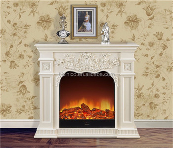 white elegant french style decorative electric fireplace - Free Standing Electric Fireplace