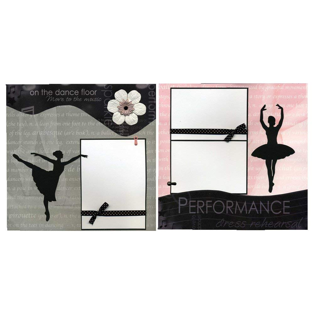 On The Dance Floor - Two Coordinating 12x12 Premade Ballet Scrapbook Pages