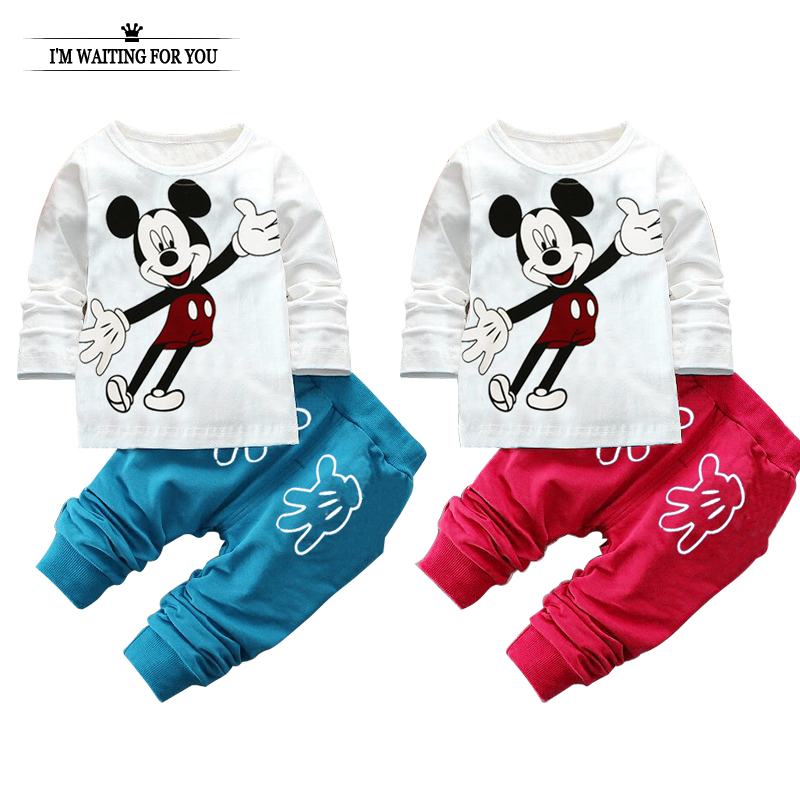 2016 spring autumn baby clothing set Minnie cotton newborn baby clothes high quality girl boy shirt + pants children sets hot