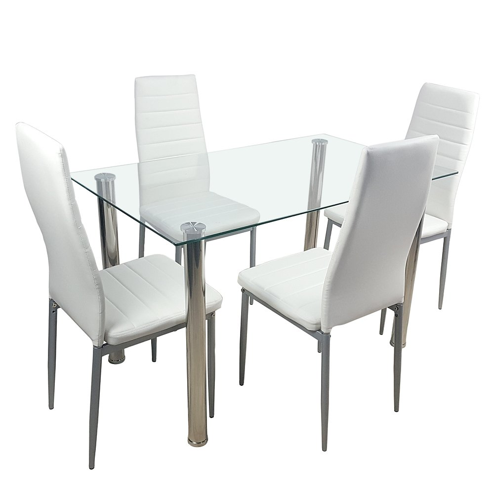 Crazy World 5 Piece Kitchen Tempered Glass Table Set, Dining Table & 4 PU Leather Chairs, Creamy White