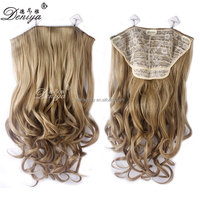 New style fashion synthetic hair apply cute curly clip in extensions