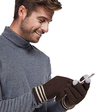 New Arrival UniseX Custom Winter Touchscreen Knit Gloves Mens Thick Texting Gloves with Warm Wool Lining