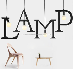Bar Loft Alphabet pendant light Letter Puzzle lamp Vintage bar hanging lights
