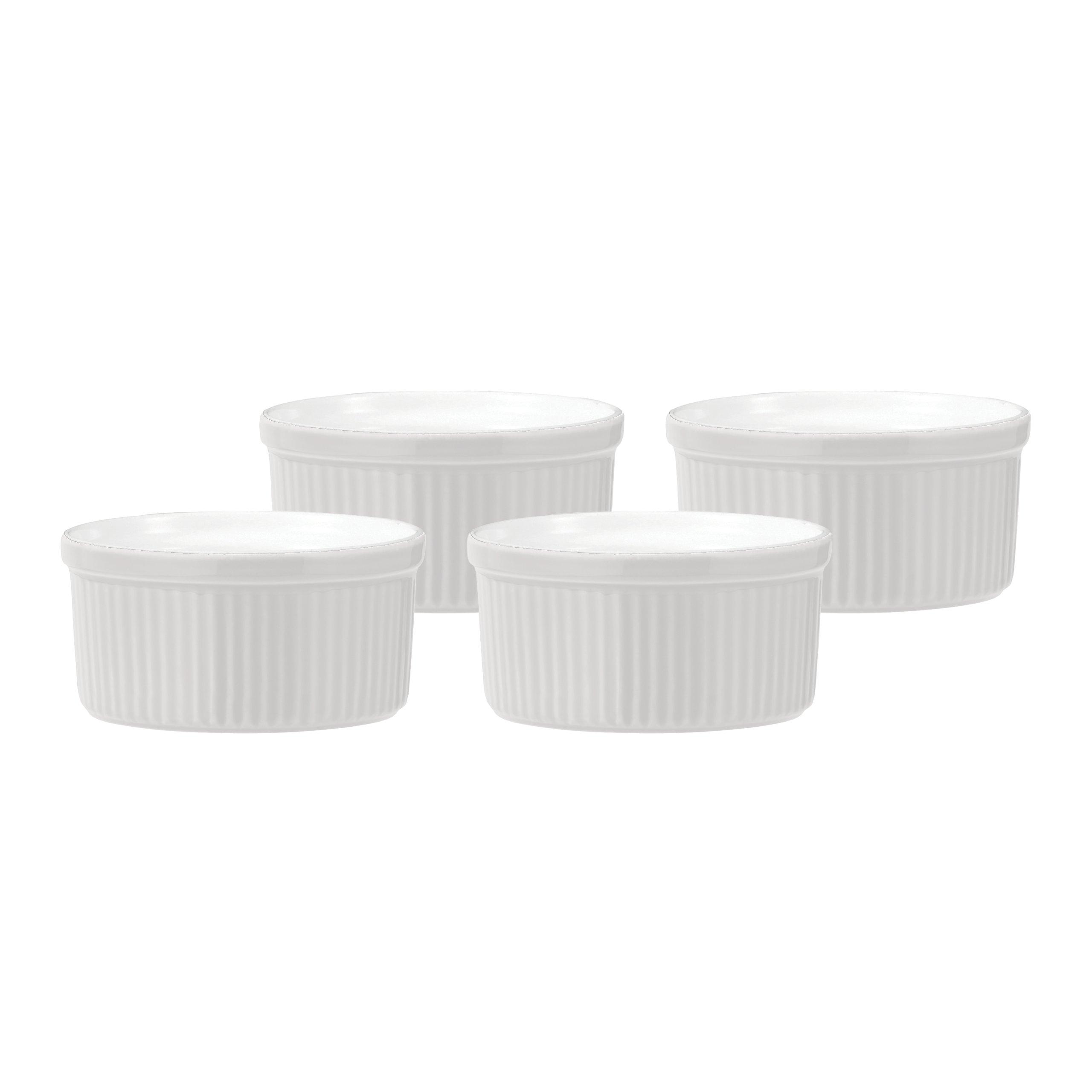 Emile Henry Souffle Dish, 8-Ounce, White, Set of 4