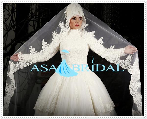 2015 Suzhou Brautkleid Neueste Weißen Arabischen Spitze Langarm ...
