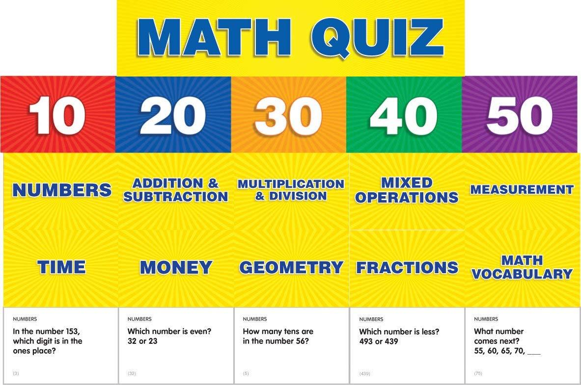Scholastic Teacher's Friend Math Class Quiz: Grades 2-4 Pocket Chart Add-ons, Multiple Colors (TF5411)