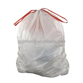 Heavy duty biodegradable black white polyester drawstring garbage bags plastic trash bags