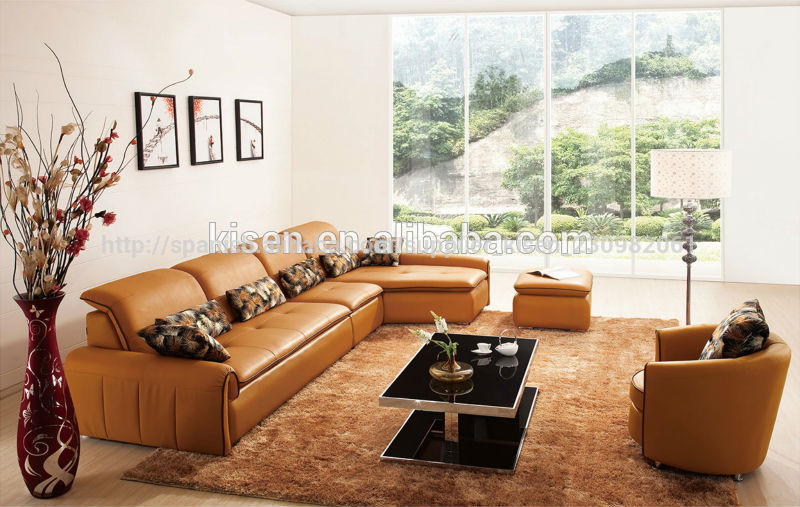 sala de estar con futón sofá moderno de muebles de cuero sofá ...