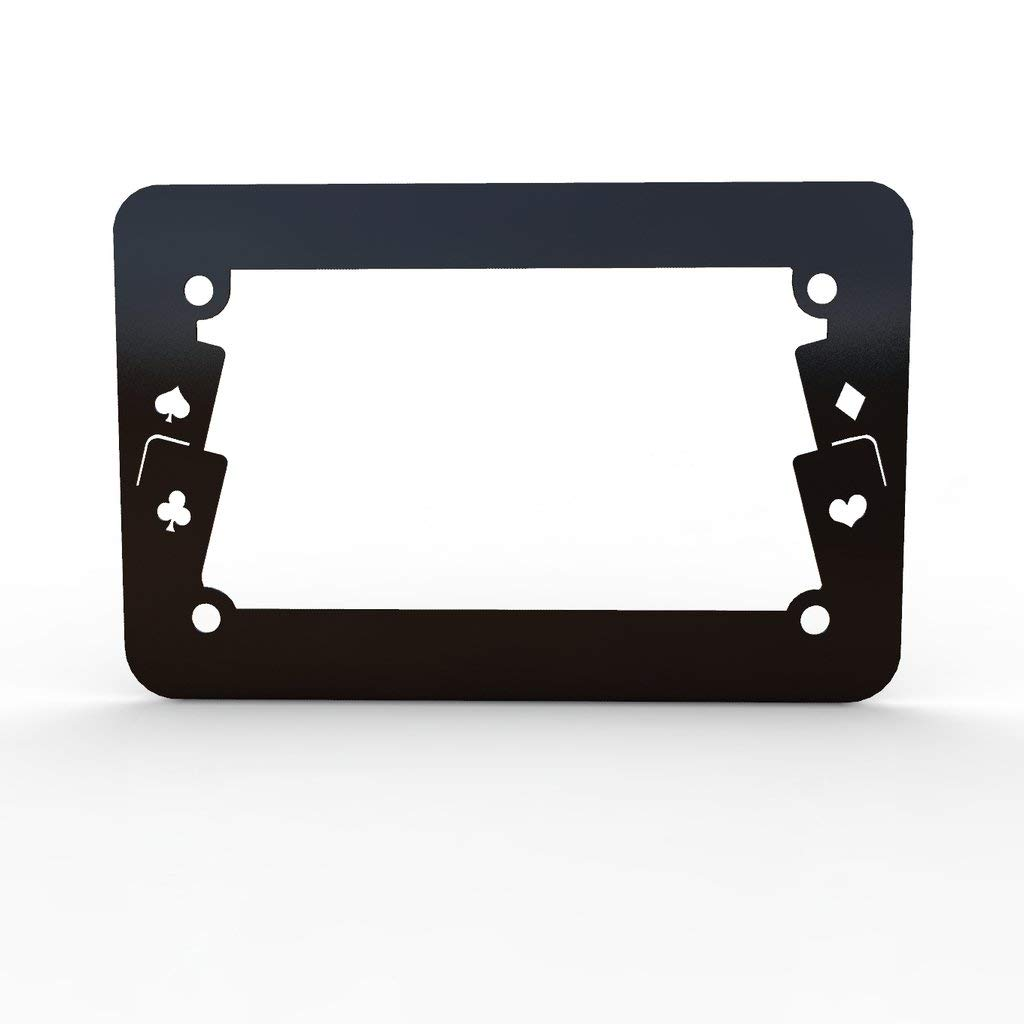 Playing Cards Motorcycle Black Powdercoat License Plate Frame Cover - Ferreus Industries - LIC-162-Black