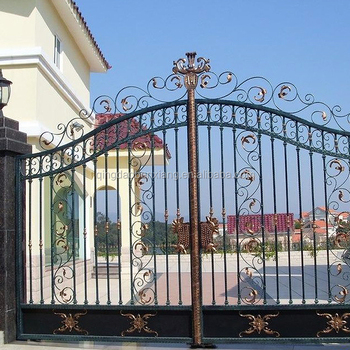 Coating Steel Gates Wrought Iron Main Single And Double Gate Decorative Simple