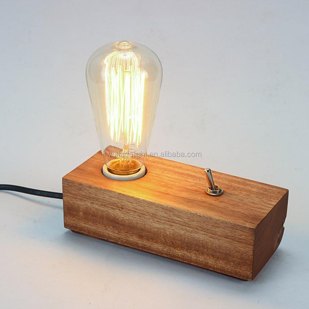 Modern Fancy Natural Wood Base Table Lamp Edison Bulb