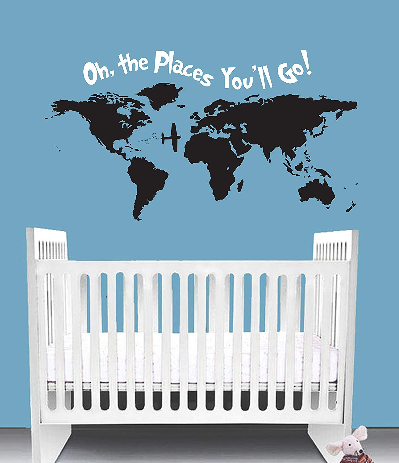 Get Quotations Oh The Places You Ll Go Dr Seuss Inspired Nursery Wall Decal Quote Crib Bedding