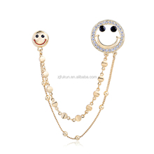 gold plated rhinestone smiley face collar brooch with chain smile scarf clip
