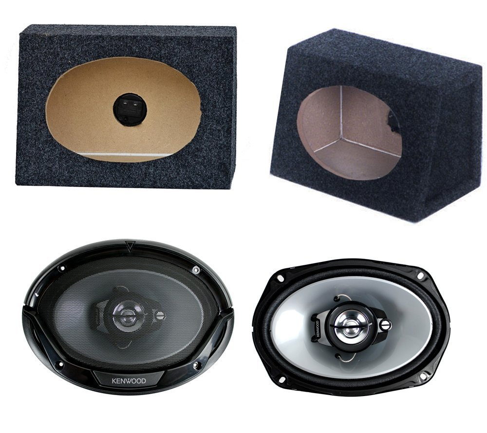 "2) New Kenwood 6x9"" 400W Car Audio Speakers + 2) 6x9"" Speaker Box Enclosures"