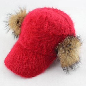 14 colors possible lady fashion cute funny rabbit fur baseball cap with racoon pompom fur two side