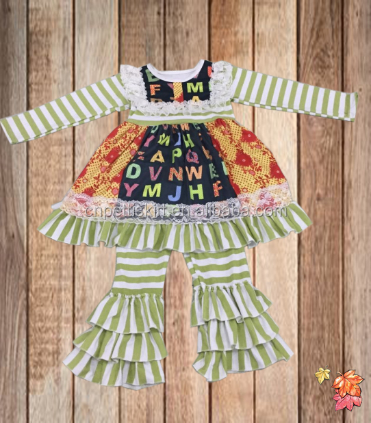 2017 newly made the letter printing stripe frock design top and ruffle pants fall boutique outfits pretty cotton baby clothes