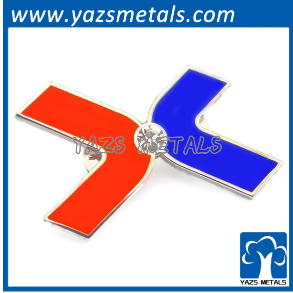 red blue cross metal lapel pin logo