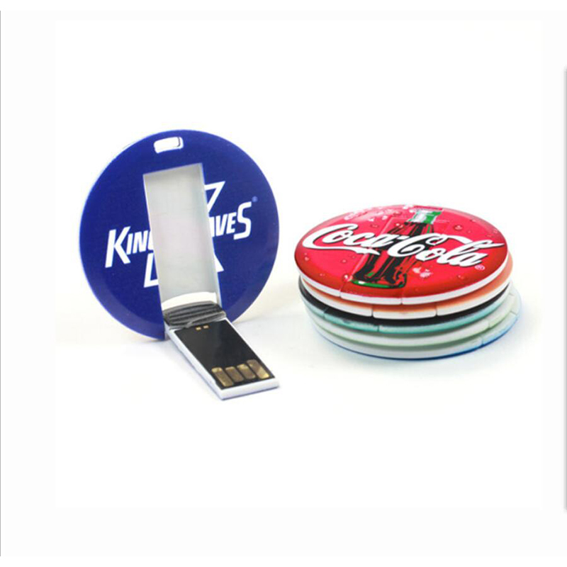 Mini Round Card USB Flash Drive con trasporto logo