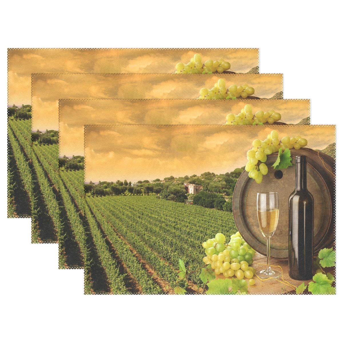 """Placemats - Set of 6,4 or 1 Table Mats - Creative Dining Insulation Heat Stain Resistant Anti-Skid Eat Mats for Kitchen Table and Dining Table with Vineyard Wine (12""""x 18"""")"""