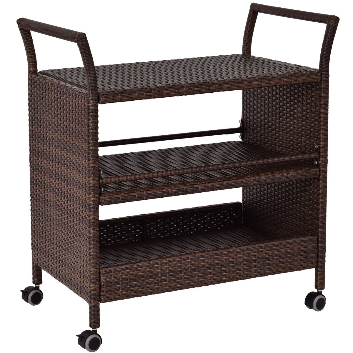 "Globe House Products GHP Outdoor 32.3"" Wx 19.9"" Dx35 H Durable and Sturdy Rolling Rattan Serving/Bar Cart"