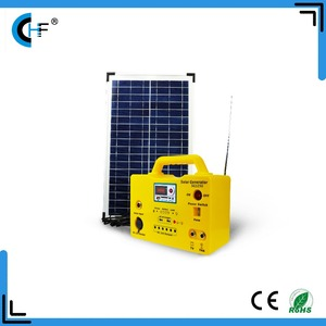 Blue Yellow 30w Solar Panel Energy System DC 12v Solar Lighting System with 6 led Bulbs