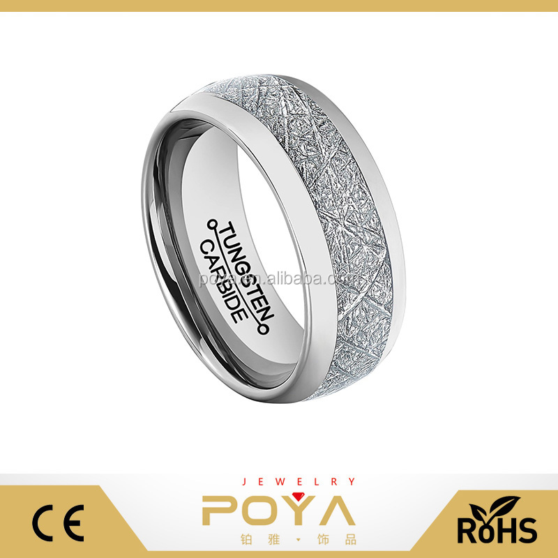 POYA Jewelry Fashion 8mm Mens Polished Tungsten Carbide Meteorite Textured Paper Inlay Wedding Band Ring