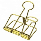 Office supplier school accessories colorful hollow out paper gold small metal wire binder clips