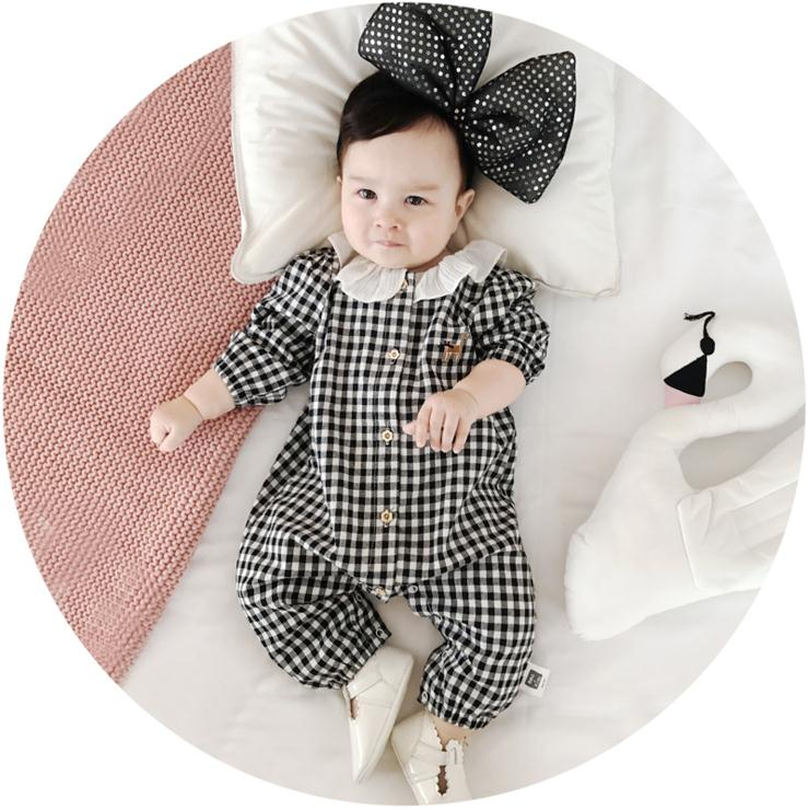 X63349A Newborn Baby Girls Grid Overalls Long Sleeve Cotton Baby Jumpsuits