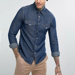 Mens clothing oem manufacturers jeans denim western shirt point collar men jeans shirt