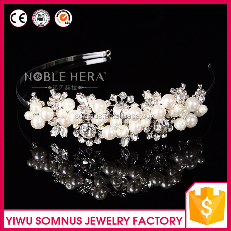 F-024 High-grade china wholesale wedding flower crystal bridal <strong>headband</strong>